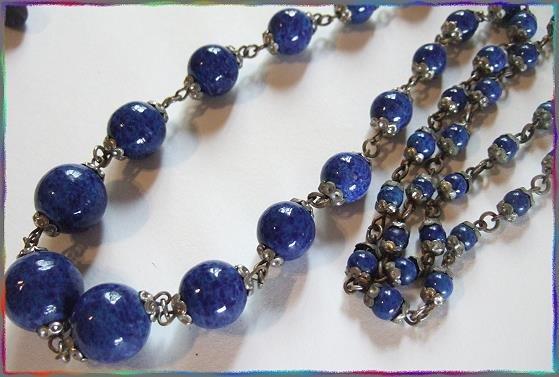 Czech Art Deco Necklace Lapis Art Glass Beads 9207