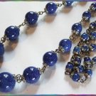 Czech Art Deco Necklace Lapis Art Glass Beads 9207