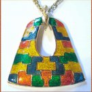 Retro Modern Cloisonne Necklace Medallion w Gold 9510
