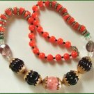Vintage Necklace RS Rhondells w Glass Carnegie KJL 9474