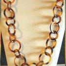 Retro Tortoise Plastic Necklace Round Hoop Links 9516