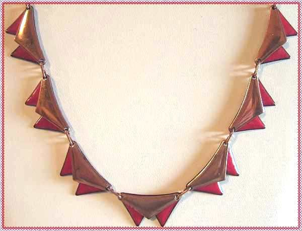 Matisse Red Copper Enamel Necklace Early Vintage 9456