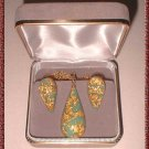 24 kt Gold Flake Necklace w Earrings Custom Parure 9376