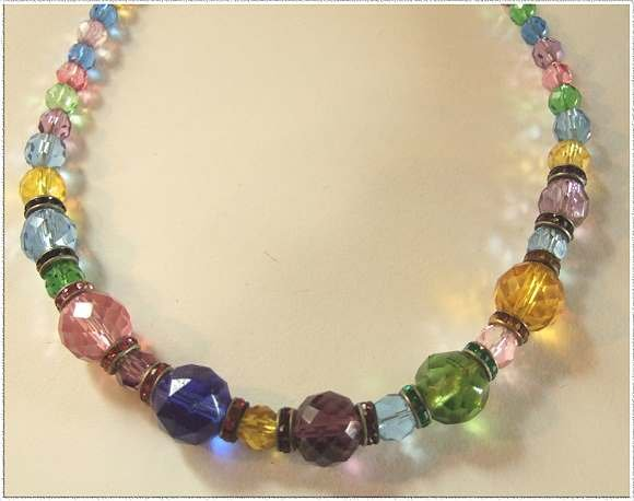 Art Deco Crystal Necklace Rainbow w Rhinestones 9475