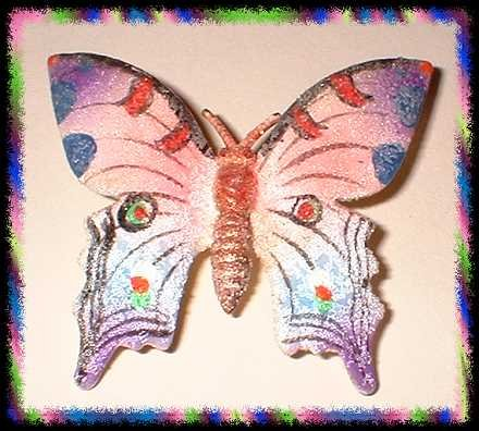 Butterfly Pin Signed Vintage Coralene Purple Blue Pink