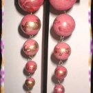 Chandelier Earrings Satin Pink Gold Graduated Balls