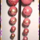 Chandelier Earrings Satin Pink Gold Graduated Balls