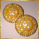 Celluloid Earrings Lemon Yellow w Rhinestones 1940s 9273