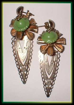 Lime Green Earrings Vintage Gold Filigree Dangles 7295