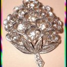 Silver Rhinestone Flower Pin Coventry Brooch Mint 9116
