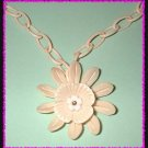 Antique Celluloid Necklace 1930s Ivory Flower w Chain 8855