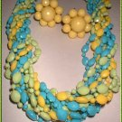 Celluloid Necklace Earrings Vintage Faceted Bold Parure 9198