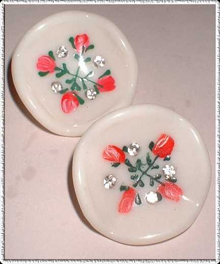 Celluloid Earrings Inset Rhinestones Hand Painted 1940s 8539