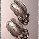 Lisner Earrings Brushed Silver Flower Clips Mint 9185