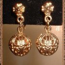 Gold Filigree Earrings Vintage 60's Ball Dangles 9158