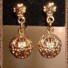 Gold Filigree Earrings Vintage 60's Ball Dangles 9158