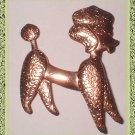 Copper Poodle Pin Pattern Stamped Vintage 60s Brooch 9190