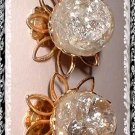 Glass Earrings Vintage Clear Crackled Glass Flower Orbs 9153