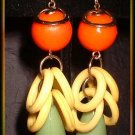 Retro Modern Earrings Vintage Fruity Lime Yellow Orange 9069