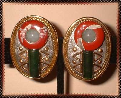 Jade n Jasper Earrings Vintage South West Motif Pierced 9064