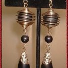 Retro Modern Earrings Vintage Black Wood w Gold 9066