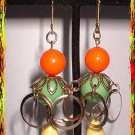 Retro Modern Earrings Vintage Fruity Lime Yellow Orange 9067