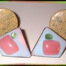 Copper Earrings 2 Pairs Vintage 50s Copper Enamel Clips 9061