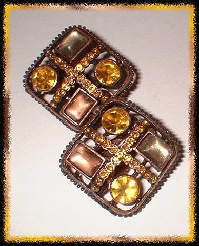 Copper Earrings Citrine n Moonstone Glass Designer Clip