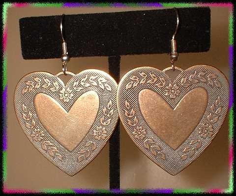 Vintage Heart Earrings LG Brass Hearts Pierced 8883