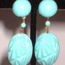 Vintage Plastic Earrings Sky Blue w Diamond Facets 6271