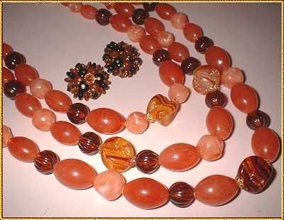 Amber Lucite Necklace w Earrings Vintage German Parure 8800