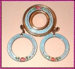 French Enamel Pin w Earrings Vintage Guilloche Parure 8449