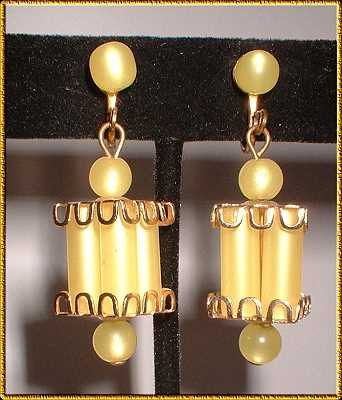 Lucite Earrings 1950s Lemon Yellow Glowing Lanterns 8809