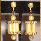 Lucite Earrings 1950s Lemon Yellow Glowing Lanterns 8809