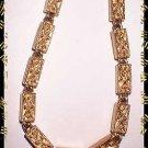 Unique Gold Necklace Signed MONET Vintage Box Links 8959