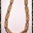 Unique Gold Necklace Signed MONET Vintage Box Links 8959