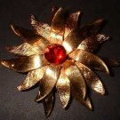 Designer Gold Flower Pin Vintage 40s Signed ROGET 7675