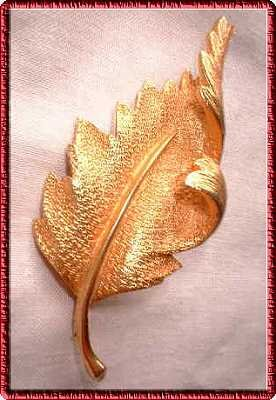 Gold Leaf Pin Sarah Coventry Brushed Rose Gold Brooch 5992