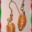 Vintage Christmas Earrings Gold Pine Cones Prcd 8515
