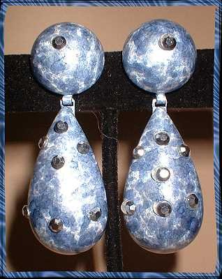 Chandelier Earrings Blue Jean Enamel w Marcasite 8896