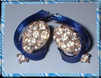 Vintage Rhinestone Earrings LISNER 50s Sapphire Enamel 8385
