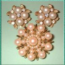 Vintage Pearl Pin w Earrings 1960s Parure w Gold 8285
