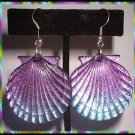Vintage Lucite Earrings Sea Shells Purple Blue Scallops 8862