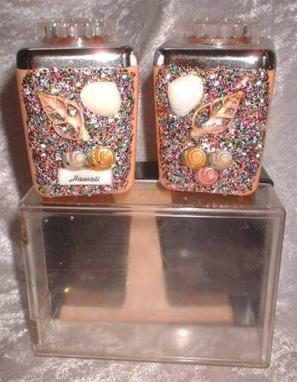 Vintage Celluloid Hawaii Salt and Pepper Set NIB 6545
