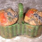 Early Vintage Majolica Style Flower Baskets Salt and Pepper  6317