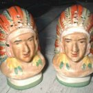 1930's Pottery Indian Head Salt and Pepper 6084
