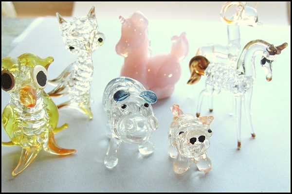 Group of Seven Old Glass Animal Miniatures