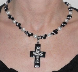 GENUINE SWAROVSKI CRYSTAL & STERLING SILVER CROSS NECKLACE