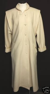 Geiger Long Boiled Wool Sweater Coat Off White 36 M L