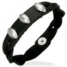 Beads Black Leather Wristband Bracelet